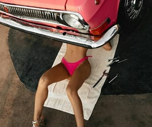 car, pink, and girl image