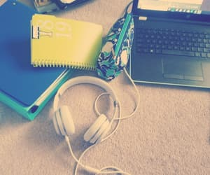 blue, homework, and notebook image