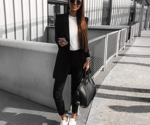 black, brunette, and fashion image