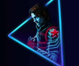 bucky, neon, and Marvel image