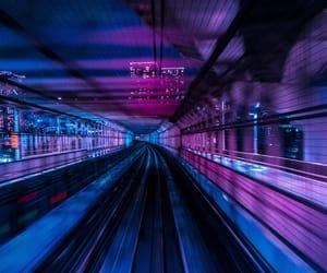 light, neon, and train image