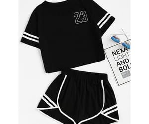 outfit, sport, and blackandwhile image