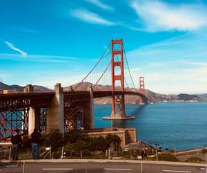 beautiful, blue, and golden gate bridge image