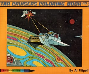 1980s, coloring book, and space image