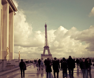 paris, eiffel tower, and clouds image