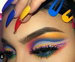 makeup, nails, and blue image