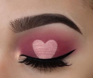 heart, makeup, and pink image