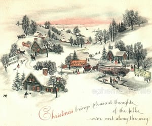 christmas card, village, and mid-century image