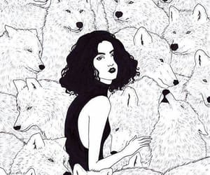 art, wolf, and girl image