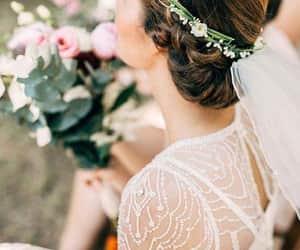 bride, wedding goals, and flower crowns image