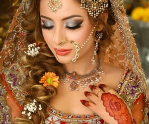 bride, henna, and nose ring image