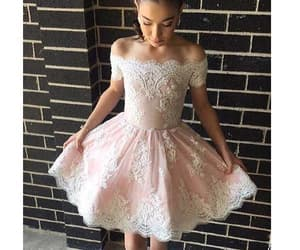 pink prom dress, prom dress short, and homecoming dress lace image
