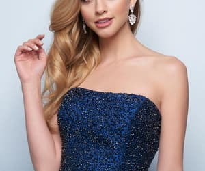 a-line, beaded, and strapless image
