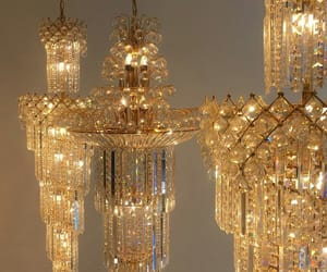 gold, beautiful, and chandelier image
