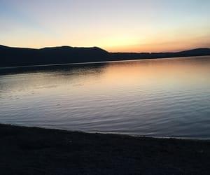 lake, mountains, and sunset image