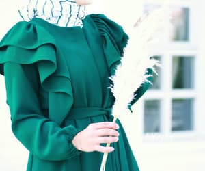 beautiful, green, and hijab image