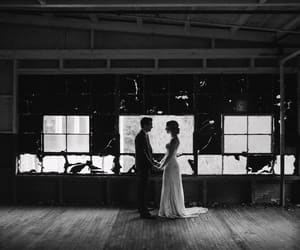 black&white, bride, and couple image