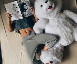 beautiful, girl, and teddy image