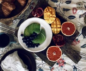 bed, blueberries, and coffe image