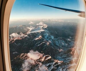 mountains, view, and airplane image