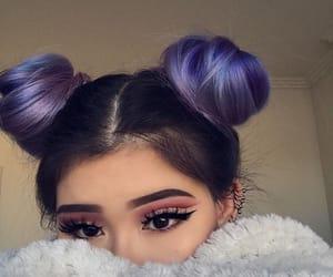 art, purple, and buns image