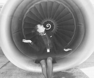 b&w, flight attendant, and travel image