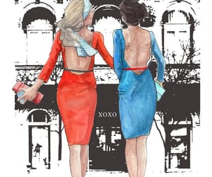 blair and serena, etsy, and fashion illustration image