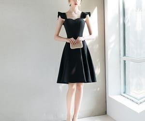 black dress, short dress, and girl image
