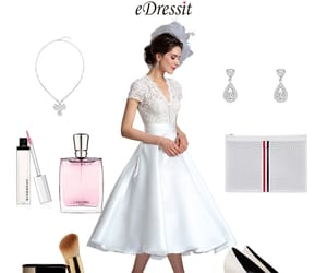 short sleeves, v-neck, and short wedding gown image