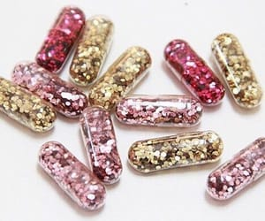glitter, pink, and pills image