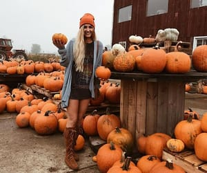 autumn, girl, and pumpkin image