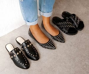 black, fashion, and flats image