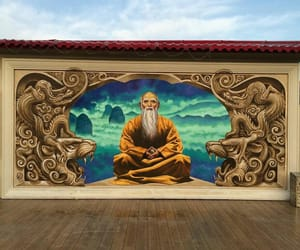 monk, mural, and street art image