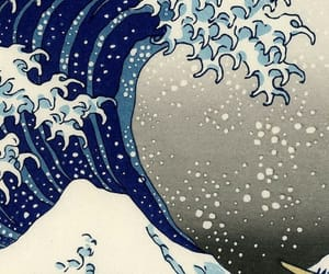 art, waves, and japanese image