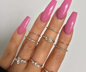 beautifull, pink nails, and rings image