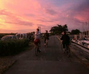 bike, sky, and friends image