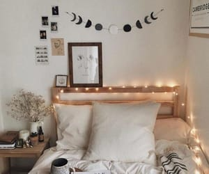 lights, bed, and book image