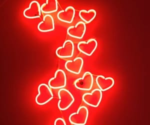 red, neon, and hearts image