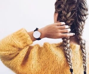 hair, braid, and yellow image