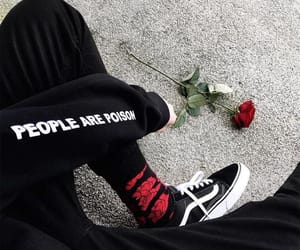 grunge, rose, and black image