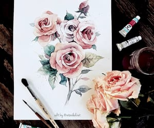 art drawings, rose gold pink, and paintings portrait image