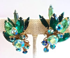 etsy, green earrings, and rhinestone earrings image