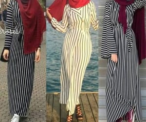 striped dress hijab image