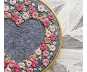 embroidery, flowers, and pink image