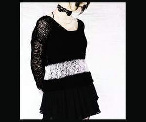 black sweater, mohair sweater, and pastel goth clothing image