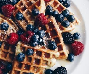 food, waffles, and fruit image