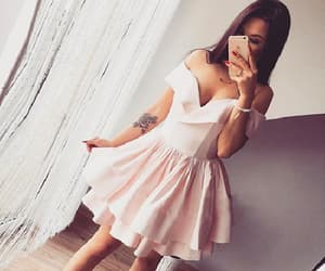 pink party dress, short homecoming dresses, and a-line party dress image