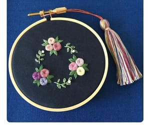 embroidery, floral, and flowers image