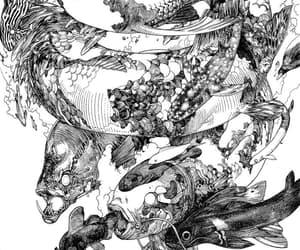 art, ink, and koi fish image