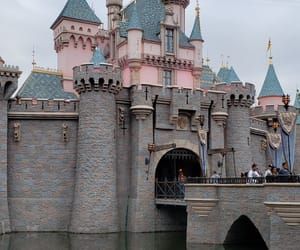 castle, clouds, and disneyland image